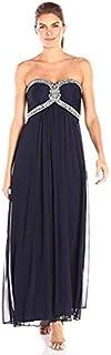 Xscape Women's Long Mesh Bead Bustier Dress
