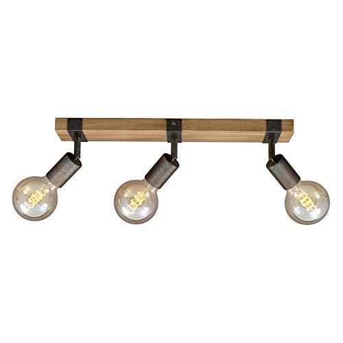Briloner Leuchten - Spotleuchte, Deckenspot retro, Deckenleuchte vintage, Spots dreh- und schwenkbar, 3x E27, Metall-Holz, Farbe: Gunmetal, 480x100x90mm (LxBxH)
