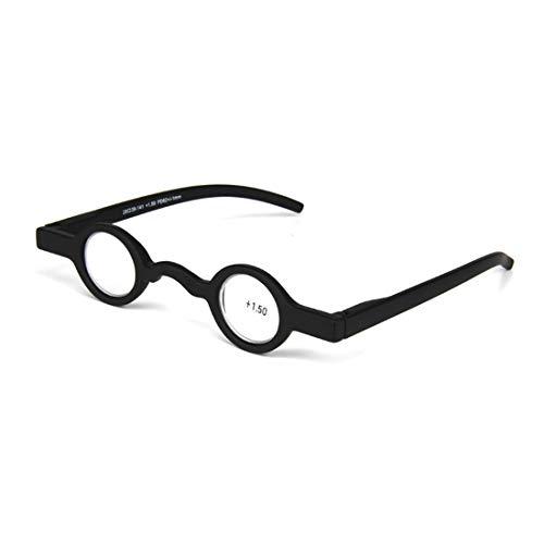 Inlefen Unisex Mini Runder Rahmen Federscharnier Leser Presbyopische Brille
