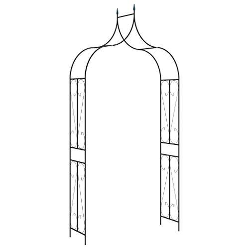 vidaXL Garden Arch Sturdy Home Lawn Outdoor Terrace Gateway Archway Pergola Trellis Arbour Rose Arch Support Black 120x38x258cm Iron
