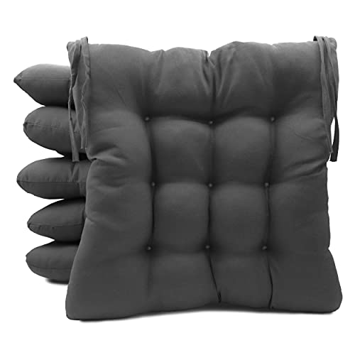 Pack de 6 Cojines para Sillas de Exterior e Interior Reversibles 40 x 40 x 7 cm, con Correas de Sujeción (Gris)