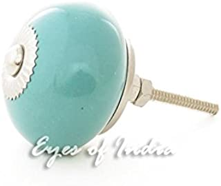 Eyes of India - Set of 2 Blue Turquoise Ceramic Dresser Cupboard Cabinet Door Knobs Pulls Decorative Shabby Chic Colorful Boho Bohemian