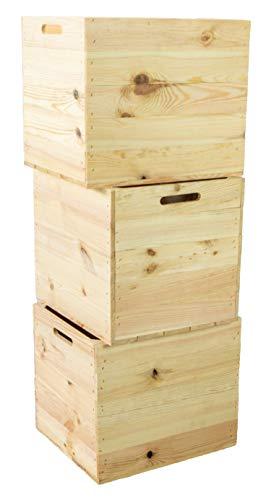 3er Set Holzkiste Aufbewahrungskiste Schubladenbox passend für alle Kallaxregale und Expidit Regale Kallaxysteme Weinkiste Obstkiste Regalkiste Maße 33x37,5x32,5cm Kallax boxen Einsatz (3er set Natur)