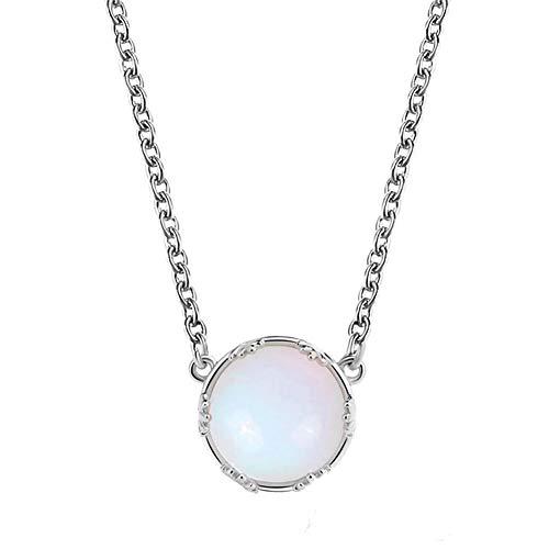 Mondstein Halskette Runde Naturstein Anhänger Blau Farbverlauf Edelstein Schlüsselbein Kette Schmuck Muttertag Geschenk für Frauen Mädchen