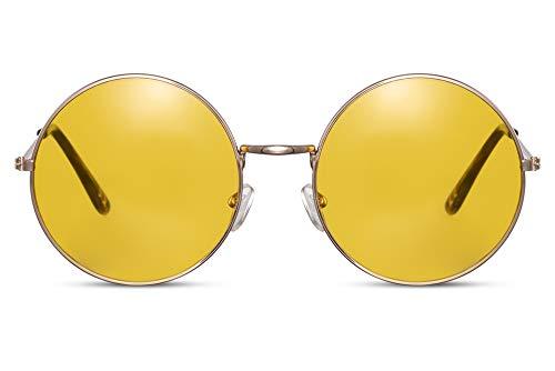 Cheapass Gafas de Sol Redondas Doradas Metálicas Festival Gafas de sol con Amarillo Cristales Translúcidos UV400 Hombres Mujeres