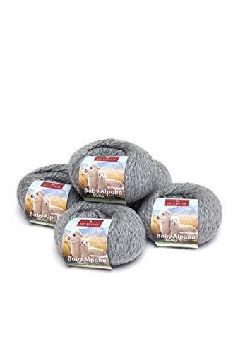 APU KUNTUR 100{056de8445e0c73aaa37f2afb4e3df704e5290e1d0e28781487048a99c0ec29dd} Baby-Alpaka Wolle | Strick-Häkel-Garn weich, warm und kratzfrei | Vorteils- 5er-Pack | 50m, Nadel 8 | wunderschöne Farben zum angenehmen Stricken und häkeln | mittel-grau