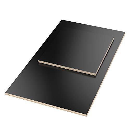 AUPROTEC Tischplatte 18mm schwarz 1500 mm x 700 mm rechteckige Multiplexplatte melaminbeschichtet von 40cm-200cm auswählbar Birken-Sperrholzplatten Massiv Holz Industriequalität Auswahl: 150x70 cm