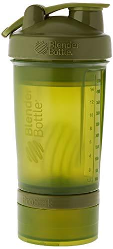 BlenderBottle ProStak Shaker per proteine 650 ml, Moss Verde, 650 ml