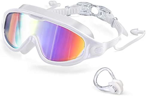 2021 Swim Goggles with Ear Plugs 100 UV Protection No Leaking Anti Fog Swimming Glasses for product image