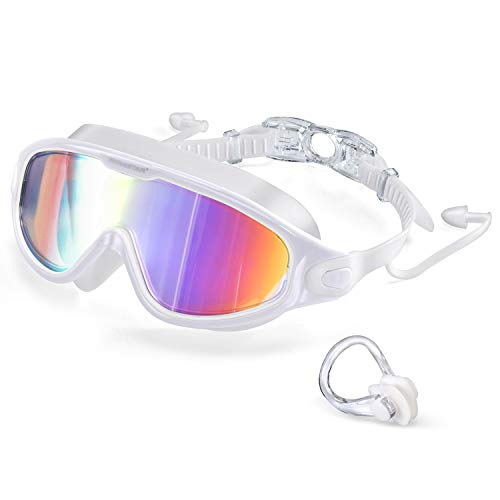 2021 Swim Goggles with Ear Plugs, 100% UV Protection No Leaking Anti Fog Swimming Glasses for Women Men and Youth, Colorful Coating Crystal Clear Vision Unisex Adult Waterproof Water Goggles White