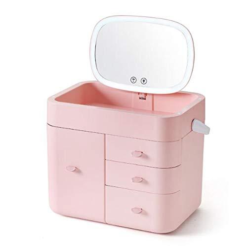 BLHZPD Boîte de Rangement cosmétique de Type tiroir à Grande capacité de Type tiroir Multicouche avec Support de Soins de la Peau pour Miroir de ménage (Couleur : Rose, Taille : One Size)
