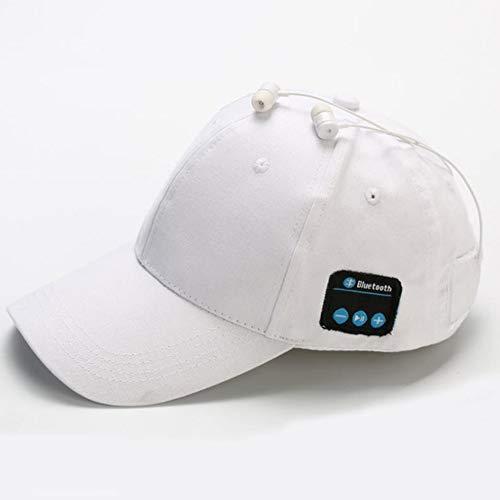 LETAMG Hut Headset Kopfhörer mit Mic Hand-freies Musik Mp3 Sport Smart Kappe Baseball Kappe Headset Sport Hut Bluetooth Hut Kappe (Weiß)