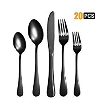 Nicekitchen Silverware Set Flatware Cutlery Stainless Steel Matte Metal Utensils Group Serves 4, 20-piece, Black