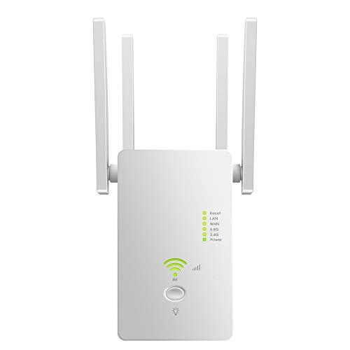 Festnight Extensor/repetidor/enrutador de Rango WiFi AC1200Mbps 802.11n repetidor WiFi inalámbrico 2,4 GHz / 5,8 GHz con Cuatro Antenas Enchufe Europeo Blanco