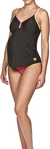 ARENA Damen Badeanzug Camelia, Black/Fresia Rose/Soft Green, 40