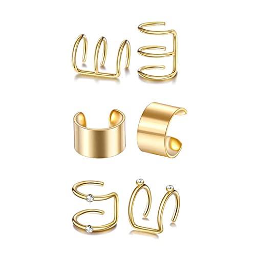 12/6/2 piezas de acero inoxidable pendientes falsos cartílago mujeres pendientes sin perforación clip conjunto joyería,
