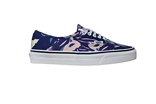 Vans Authentic Womens Size 5.5 Vintage Floral Navy Blue Marshmallow Skateboarding Shoes