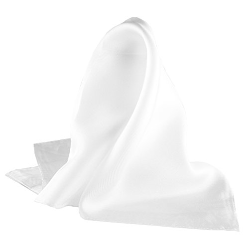 "Fine White 100% Silk Pocket Square for Men by Royal Silk - Full-Sized 17""x17"""