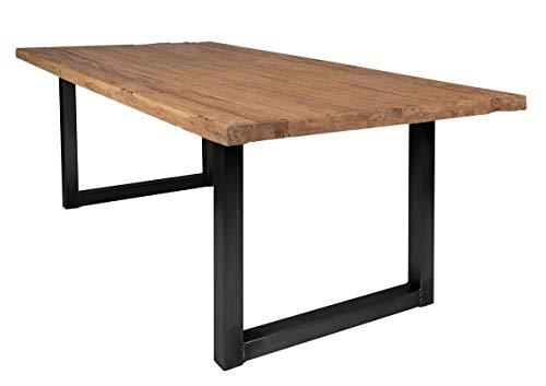 SIT-Möbel 7139-01 + 7112-11 Table de Table en Teck recyclé avec Plateau en Fer Naturel 180 x 100 x 78 cm Cadre Naturel Noir Antique composé de 7139-01 + 7112-11 Épaisseur de Plaque 5 cm