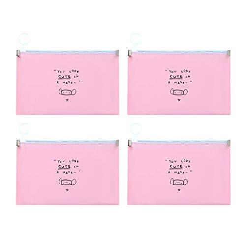 4 Piezas Color sólido Bolsa para Guardar Mask_Mascarillas Bolsa, lavable e impermeable Se puede limpiar Bolsa de almacenamiento de la caja de almacenamiento de la carpeta de almacenamiento