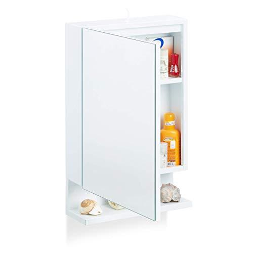 Relaxdays, weiß Badspiegelschrank, 1-türig, mit Steckdose, Badezimmerschrank, Wandschrank, H x B x T: 55 x 35 x 12 cm