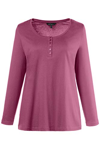 Ulla Popken, maglia da donna, taglie comode, in cotone, a maniche lunghe 700603 Royal Sapphire 52-54