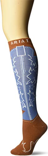 Ariat Women's Over The Calf Boot Novelty Sock, Brown, One Size