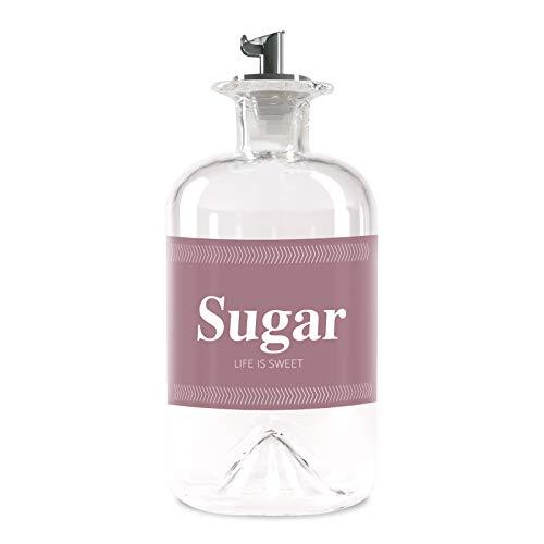 Lifestyle Lover Zuckerstreuer, Glas 350ml Flasche, Dosierer aus Edelstahl, ideal für weißer/brauner Zucker, Kakao (Sugar)