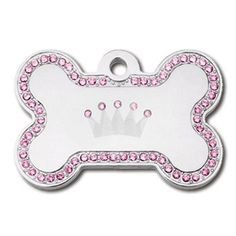 Diva Crown Jewel Collection Crystal Jeweled Large Bone Shape Personalized Custom Engraved Pet ID Tags! (Chrome- Crown & Pink Crystals)