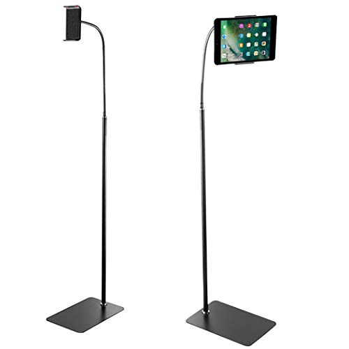 "UNHO Floor Tablet Stand Adjustable, 360 Rotating Cell Phone Stand Gooseneck Tablet Holder for iphone / ipad / ipad Air / ipad mini for Samsung Galaxy Tab Other 5""-10.6"" Tablets"