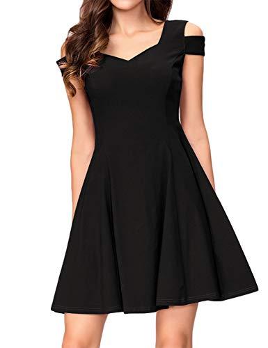 KOJOOIN Damen Vintage 50er Cocktailkleid Abendkleider V-Ausschnitt Ballkleid Ärmelloses Kurzes Sommerkleid Schwarz 【EU 34-36】/S