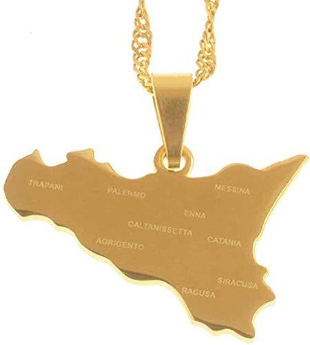 ZPPYMXGZ Co.,ltd Collar Mapa de Color Dorado de Italia Collares con Colgante de Sicilia con Nombres de Ciudades Joyería de Sicilia Italiana Regalos 60Cm Moda