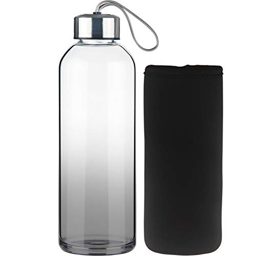 FCSDETAIL Botella de Agua de Cristal, Botella de Agua de Vidrio de Borosilicato con Funda de Neopreno con Tapa de Acero Inoxidable 1000ml
