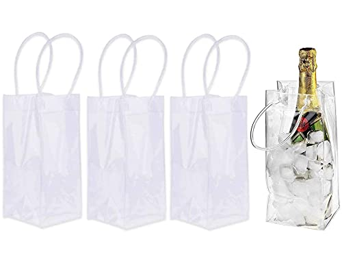 Bolsa De Hielo Para Vino 4 Piezas Bolsa De Enfriador De Vino PVC Cubitera Plegable Bolsa De Hielo Para Botellas Enfriador De Botella Transparente Con Mango Para Cerveza Fría Blanco Bebidas Heladas