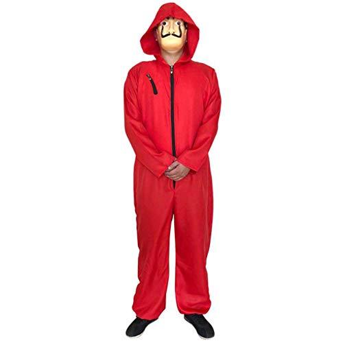 Unisex La Casa De Papel Siamesische Dali Maske Rot Kostüm Halloween Cosplay Hoodie Kostüm (Red, M)