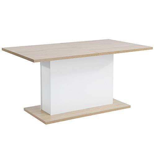 Tavolo da pranzo allungabile senza marchio 6-8P 90 * 160-205 * 76 cm legno rovere bianco