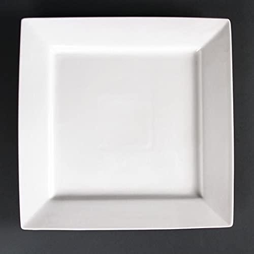 Lumina CD634 Lot de 2 assiettes carrées en porcelaine fine Blanc
