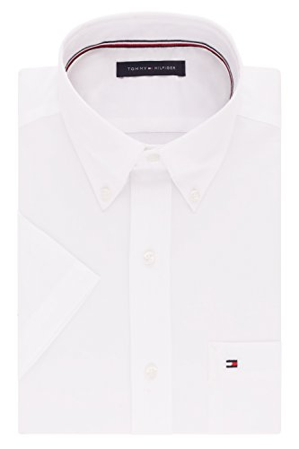Tommy Hilfiger mens Short Sleeve Button-down Dress Shirt, White, 16.5 Neck Large US