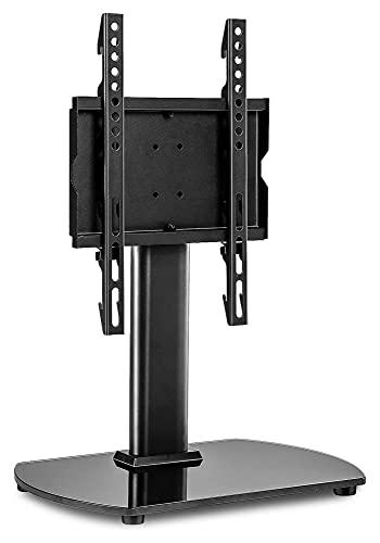 TabloKanvas Soporte Giratorio TV Mesa de Base TV TV Soporte de reemplazo para un televisor Curvo Plano de 22-43 Pulgadas con Base de Vidrio Templado (Color : Black)