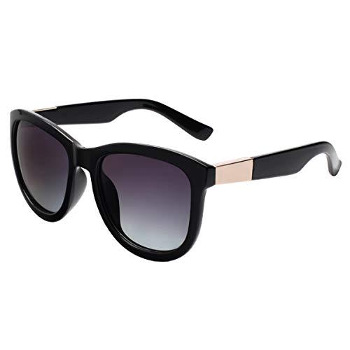 Vivienfang | Friday Night | tonalità classico da donna oversize occhiali da sole polarizzati per donne P1693 Nero Black Frame/Smoke Lens