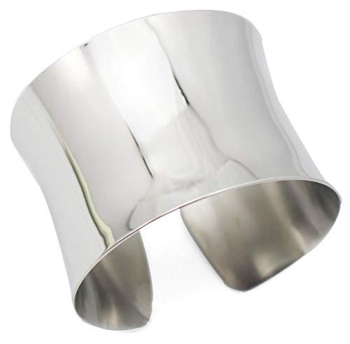 シルバーのワイド溝付きカフバングルレディースガールズステンレススチールShinyパンクブレスレットシルバー