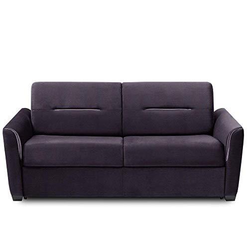 INSIDE Canapé Convertible Express Amazone Matelas 120cm Comfort BULTEX® 14cm Cuir Vachette Violet