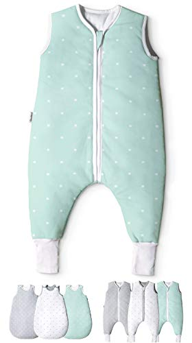 Ehrenkind® Babyschlafsack mit Beinen | Bio-Baumwolle | Ganzjahres Schlafsack Baby Gr. 90 Farbe Mint mit weißen Sternen