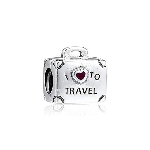 LILANG Pandora 925 Pulsera de joyería Natural se Adapta a los encantos de Plata esterlina Me Encanta Viajar Maleta Abalorios para Mujeres Enteras Regalo DIY