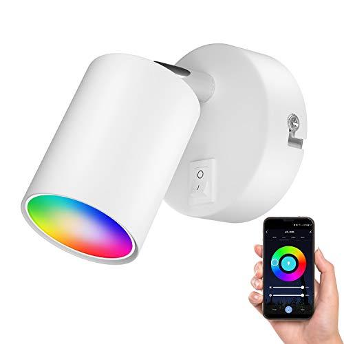 ledscom.de Wall spot WAIKA, una sola luz, con interruptor, GU10, blanco mate, incl. lámpara LED RGBW GU10 de Smart Home, 5.2W=45W, 550lm