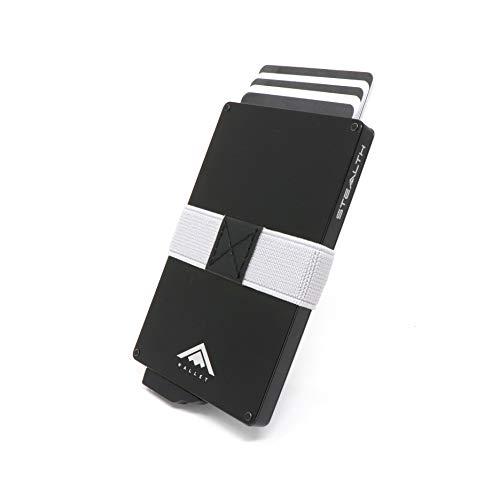 STEALTH WALLET Minimalista Portatarjetas RFID - Carteras de Tarjeta de Crédito de Metal Delgado y Ligero con Clip Elástico para Dinero y Protección de Bloque NFC (Aluminio Negro)