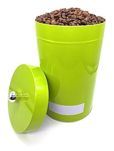Perfekto24 Aufbewahrung Kaffee 1kg Bohnen - die Kaffeedose hält Kaffeebohnen/Pulver länger frisch - Vorratsdose mit Aromaverschluss - Kaffeebehälter 1kg (Grün XL)
