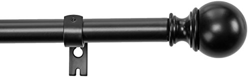 Amazon Basics 1-Inch Curtain Rod with Round Finials - 1-Pack, 72 to 144 Inch, Black