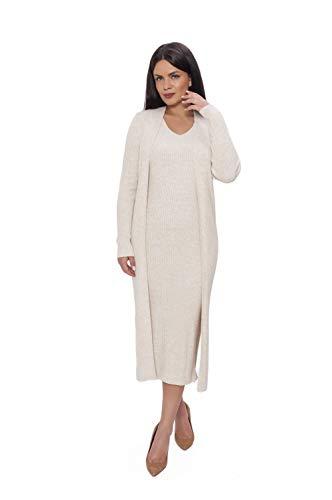 Miss Noir Karon Elegante Zweiteilige Damen Set Lange Cardigan und Strickkleid Zwei-Stück Damenset Strickjacke und Lange Kleid (Beige)