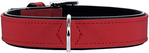 HUNTER Collar para Perros Softie, Cuero Artificial, 45, Rojo/Negro